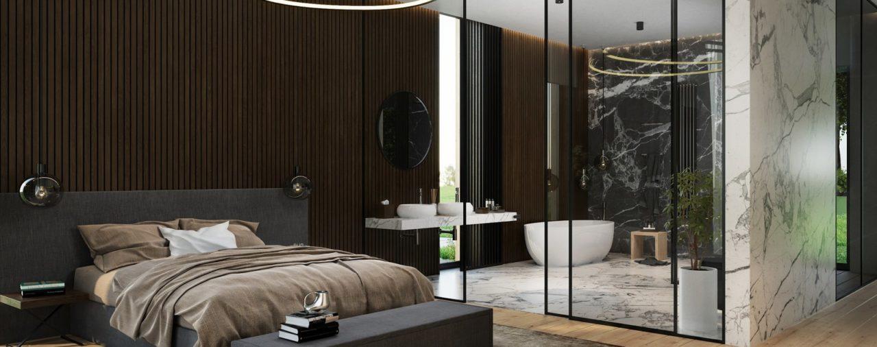 Aranżacja sypialni z wanną
